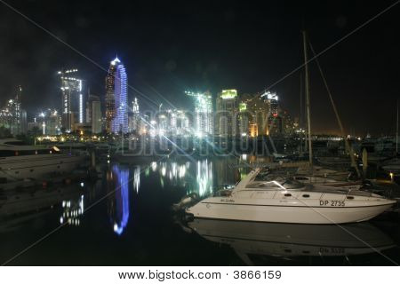 Reflections Marina Night Boats Dubai Lights