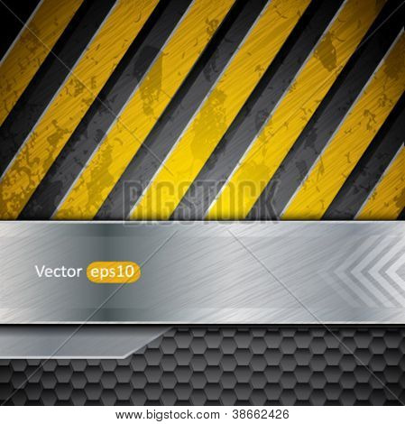Metal warning stripes vector background