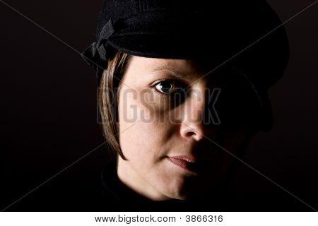 Attractive Brunette In Hat