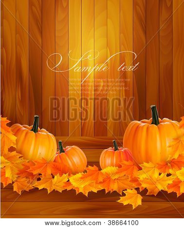 Pumpkins on wooden background with leaves. Autumn background. Vector.