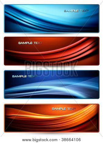 Set of colorful abstract business banners. Vector illustration.