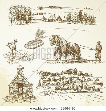 paisaje rural, la agricultura, la aldea