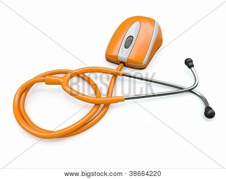 Stethscope and computer mouse. Medical Technologies. 3d