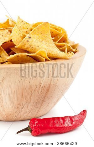 Pimento near to a bowl of crisps against white background