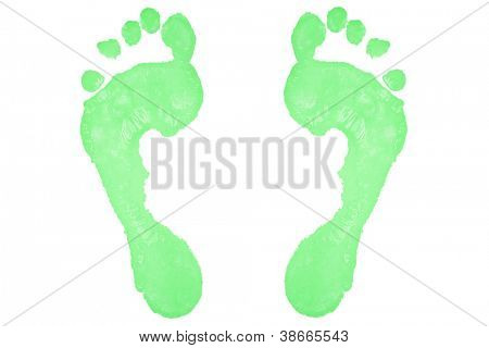 Two green footprints against a white background
