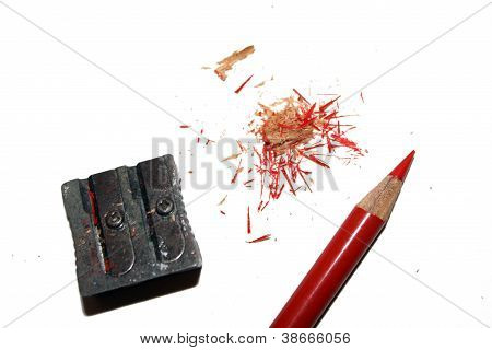 red pencil with sharpener