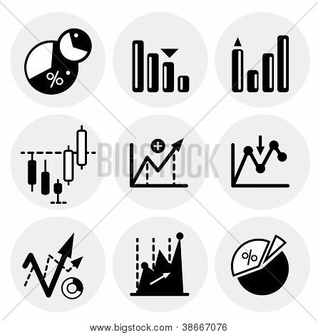 Vector black statistics icons