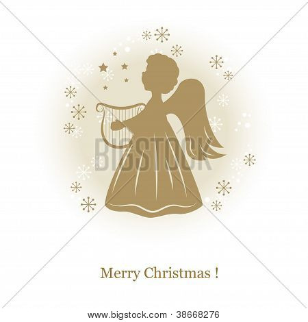 Little cute angel with harp.