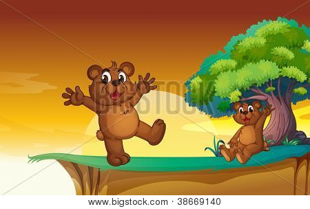 illustration of bear cubs in a beautiful nature