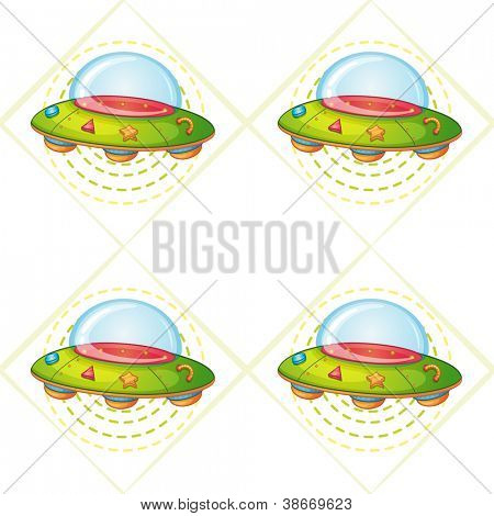 illustration of a flying saucers on a white background
