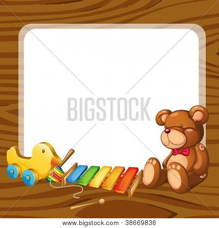 illustration of toys and board  on a white backgound