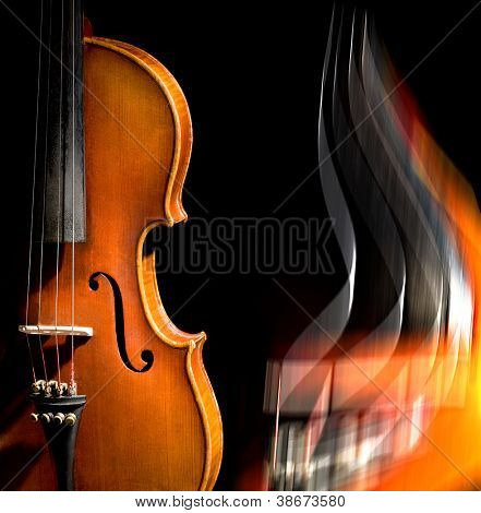 Violin on black background (easy to remove the text)