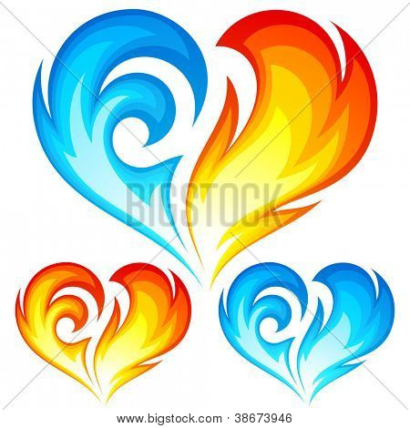 Fire and Ice vector heart. Symbol of love for Valentine Day