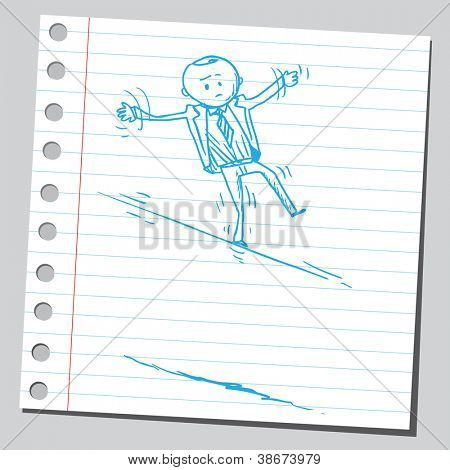 Businessman on wire