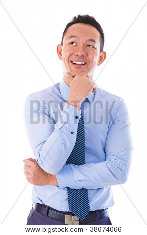 Asian Man thinking over white background