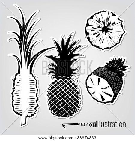 Set of vector decorative pineapples