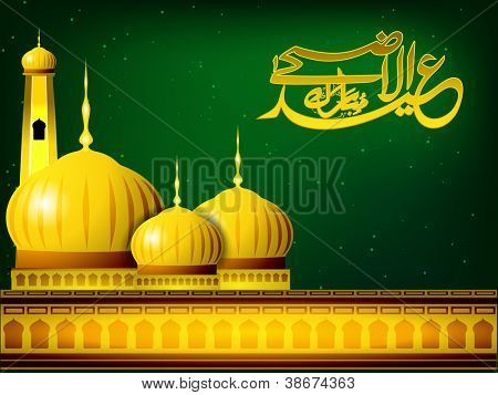 Eid-Ul-Adha-Mubarak or Eid-Ul-Azha-Mubarak, Arabic Islamic calligraphy with golden Mosque or Masjid for Muslim community festival. EPS 10.