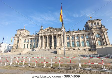 Security barrier in front of the Bundestag in Berlin, Germany.