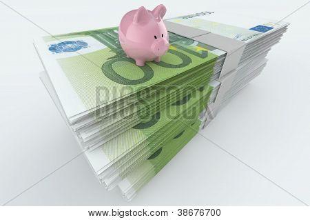 Euro Moneystack With Piggy Bank