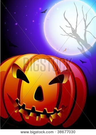 Spooky Halloween moon light night background with pumpkin. EPS 10.