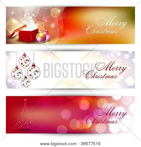 Website header or banner set with decorative Xmas balls, gifts box and snowflakes. EPS 10.