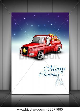 Merry Christmas greeting card, gift card or invitation card with Santa riding car loaded with gifts. EPS 10.