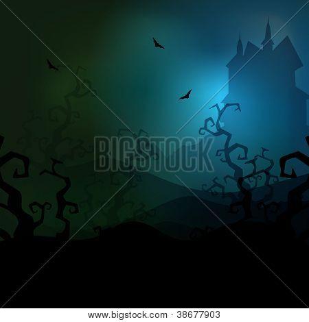 Spooky Halloween dark night background. EPS 10.