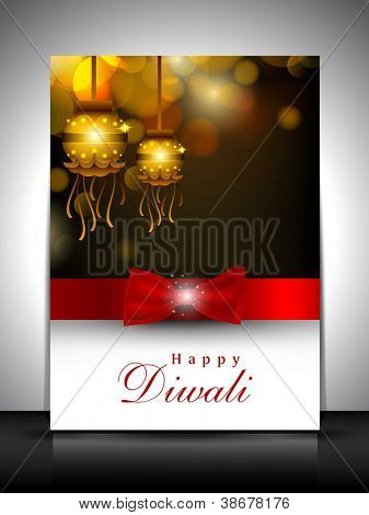 Greeting card with hanging lamp for Diwali festival in India. EPS 10.