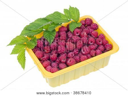 Raspberries In A Yellow Plastic Container