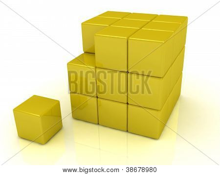 Broken Away From The Small Block Of A Large Cube
