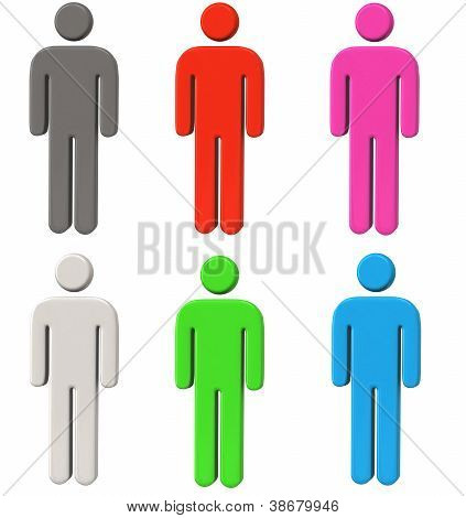 Human icons set 3d
