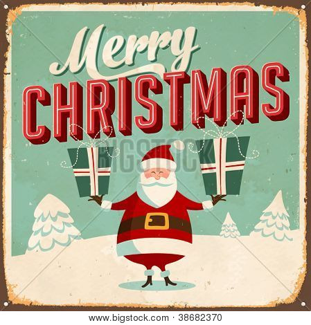 Vintage Metal Sign - Merry Christmas - Vector EPS10. Grunge effects can be easily removed for a brand new, clean design.