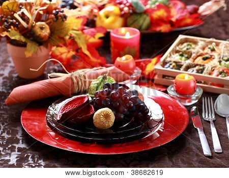 Colorful table decorated for Thanksgiving