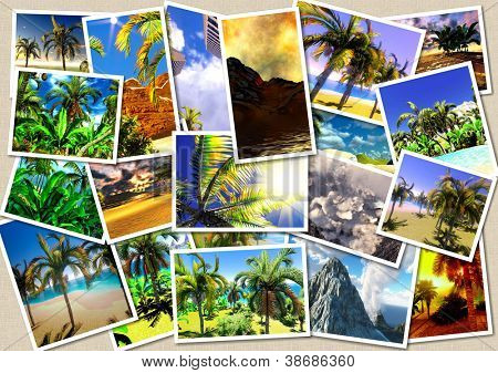Hawaiian paradise collage postcards
