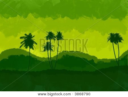 Beautiful Illustration Of Palm Trees And Mountains