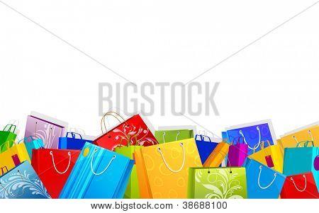 ilustração do saco de compra diferente sobre fundo de venda