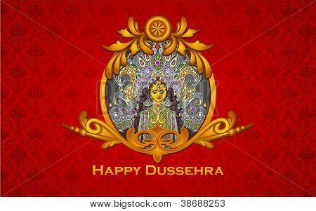 illustration of colorful Goddess Durga in golden frame