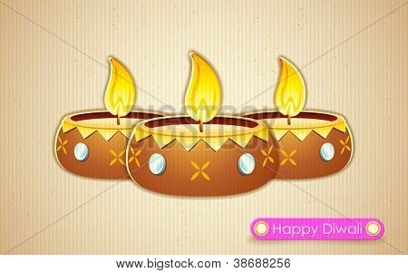 illustration of burning decorated diya on abstract background