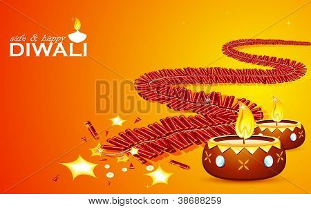illustration of burning firecracker and diya for happy and safe Diwali