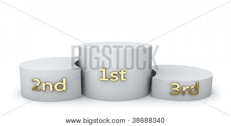Winner award round podium with golden numbers isolated on white background.