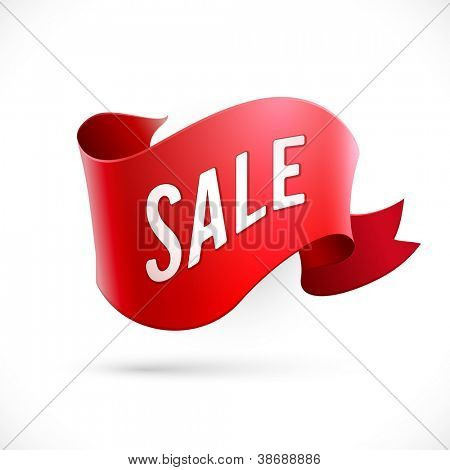 "Red abstract ribbon with ""Sale"" text - eps10 vector"