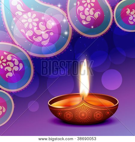 vector diwali diya background illustration