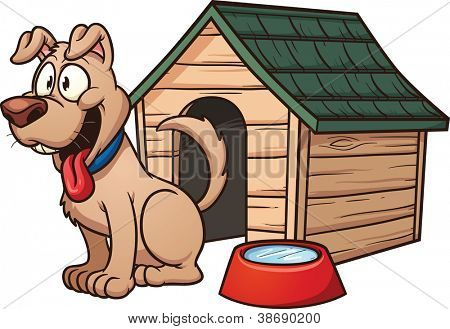 Cartoon dog house. Vector clip art illustration with simple gradients. Each element in a separate layer for easy editing.