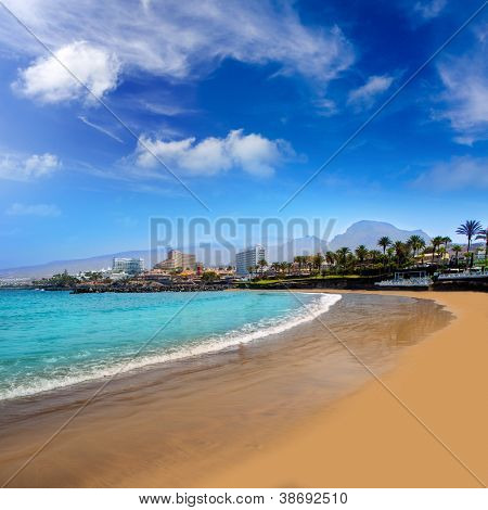 Las Americas Beach Adeje coast Beach in south Tenerife at Canary Islands