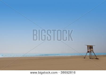Playa del Ingles Maspalomas beach in Gran Canaria lifeguard house