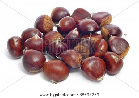 a pile of chestnuts oin a white background