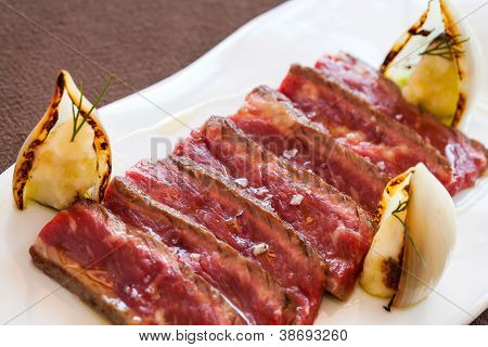Close Up Of Grilled Beef Steak Sliced.