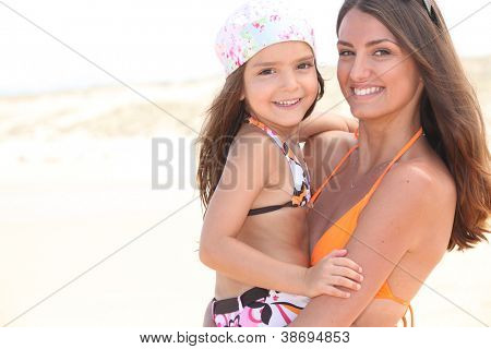 Mother and daughter in his arms