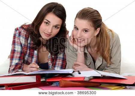 Two girls revising together