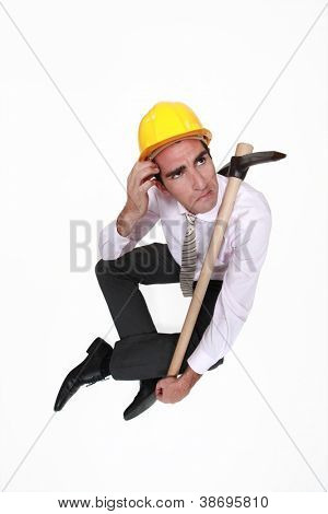 A clueless architect with a pickaxe.